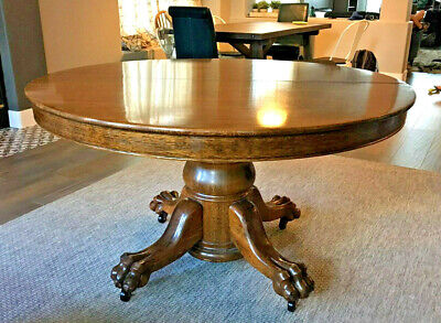 "Antique 54"" Round Oak Pedestal Dining Table claw feet 4 leaves Custom Pads"