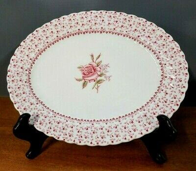 "Johnson Brothers Rose Bouquet 12""x 9-1/2"" Oval Serving Platter"