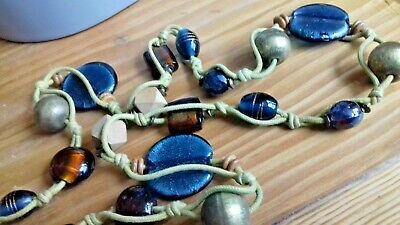 Blue and Brown Glass Wood Bead Lagenlook Long Necklace