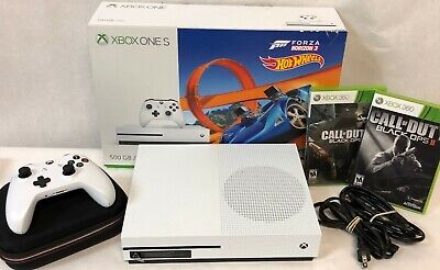 Xbox One S 500GB Console Forza Horizon 3 Hot Wheels Bundle + 2 Xbox 360 Games!