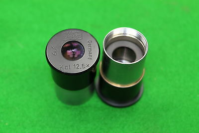 Pair of Carl Zeiss Kpl 12x Microscope Eyepieces Lens Laboratory Lab Equipment