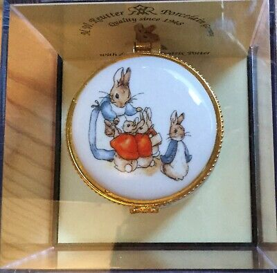 Beatrix Potter Porcelain Trinket Box & BNUC Peter Rabbit 2019 Coin - Exc Cond.