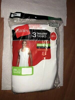 Mens Hanes White Tagless Tanks 3-Pack Size 4XL A-SHIRT!!