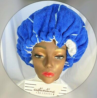 Handmade Reusable Satin Lined Hair Towel Conditioning Heat Therapy Thermal Cap