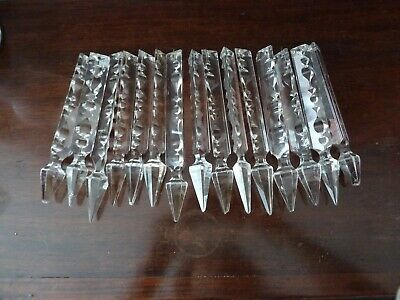 15 Antique Fancy Cut Crystal Chandelier or Lustre  Droplets h14-15,7cm