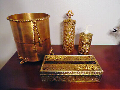 Vintage Lot 4 Ormolu- Brass,Lotion Pump Dispenser-Trash Can-Stylbuilt-Tissue Bx-