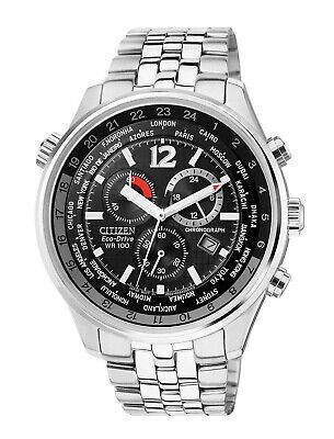 Citizen Eco-Drive Men's San Remo Chronograph World Time 43mm Watch AT0361-57E