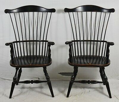 Pair of Fredrick Duckloe Brothers High Back Windsor Chairs Carved Knuckles Black