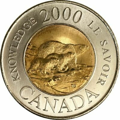 CANADA 2000 THE PATH OF KNOWLEDGE - 3 Bears TOONIE - $2 CIRCULATED