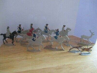 Vintage Rare Flat Lead Figures Set (170C) ''18Th Century French Hunting Scene''