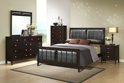 5Pc Contemporary Styling Rosa Wooden Antique Black Queen/ King Bedroom Set