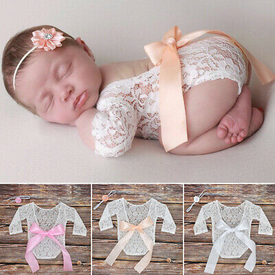 Baby Girl Accessories Newborn Photography Props Big Bow Lace Romper Bodysuit