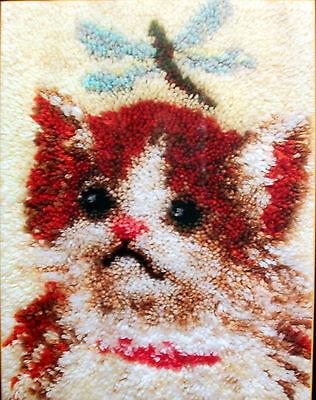 "Latch Hook Rug Making Kit  ""A Kitten""  Size 15"" X 20"""