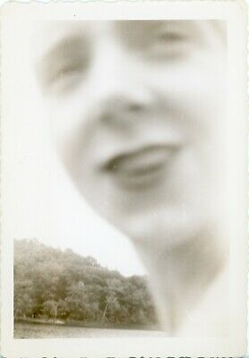 Vintage Photo Snapshot - Weird Face - Ghostly Looking - Crisp Background