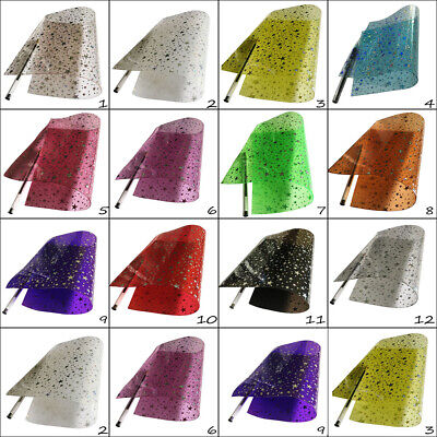 Transparent Vinyl Sheets Silver Holographic Stars A4 Hair Bows Crafts Code # 372