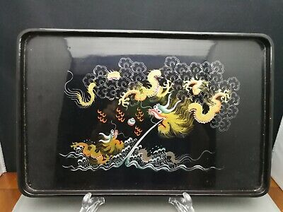 Late 19th / early 20th Chinese Wood lacquered dragon tray -