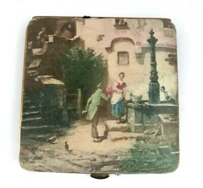 Vintage Silk Encased Powder Compact with Cassle Print Transfer Scene. SEE!