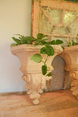Gorgeous Vintage Wall Sconce Planter with Original Pale cHiPpY Paint #1 of 2
