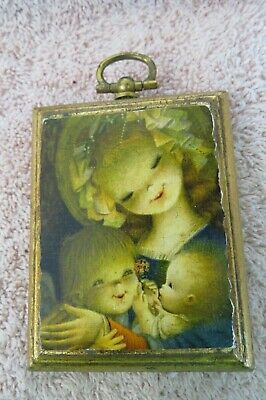 Vintage Small Florentine Wood Decoupage Picture - Young Mother & Two Children