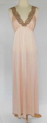Vintage 70s Vanity Fair Pink Antron Nylon Long Nightgown Lace 32