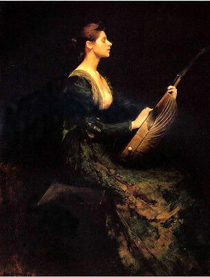 Hand painted Oil painting beautiful young lady playing zithern Guitar Guqin