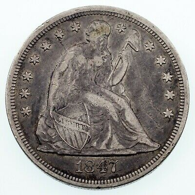 1847 $1 Seated Liberty Silver Dollar in Fine Condition, VF in Wear