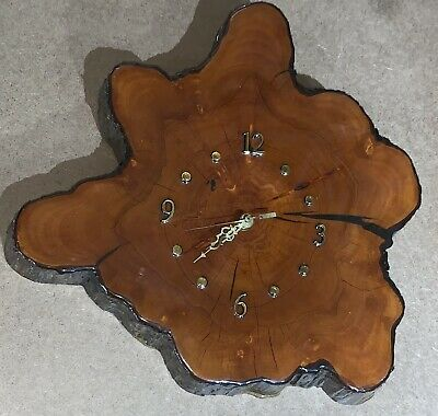 Vintage Lacquered Cypress Tree Wood Wall Clock Slab Wooden Mid Century
