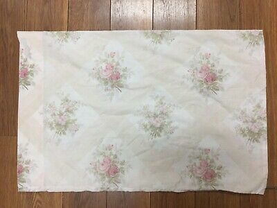 Vintage Pillow Case 1 Standard  Floral Roses Bouquet Peach With Pinks Greens