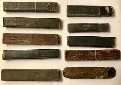 Vintage Antique Straight Razor Box Holder Lot Of 10 Old Boxes Only
