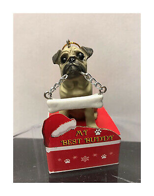 E&S Pets My Best Buddy Fawn Pug with Bone Christmas Ornament