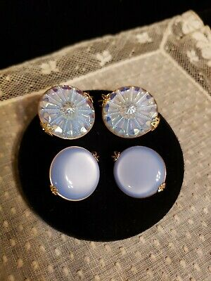 Two Pair Of Round SHOE Or DRESS CLIPS, Blue Moonstone Look With Goldtone Metal