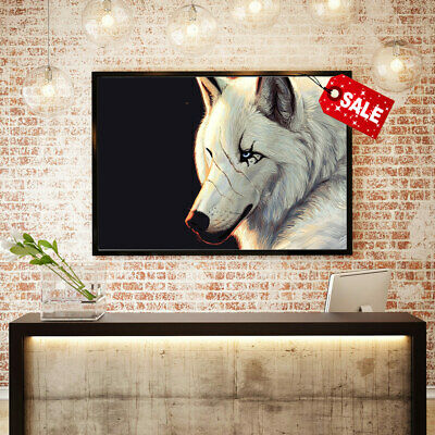 Modern Home Wall Decoration Art Canvas HD Print Cartoon White Wolf Painting16x24