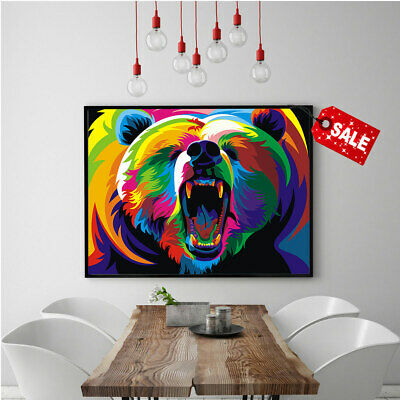 Print Modern Home Wall Decoration Bear of Many Colors Canvas Art Painting 16x20