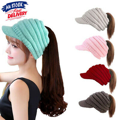 Women's Ponytail High Bun Hat Knit Soft Winter Stretch Cable Beanie Skull Cap