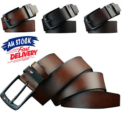 Mens Business Waistband 3 Colors Dress Buckle Belts Work Belt PU Leather AU Pin