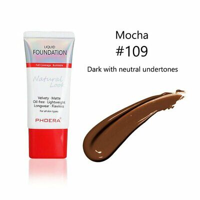 PHOERA Liquid Foundation Full Coverage Velvety Matte flawless lasting Makeup #T