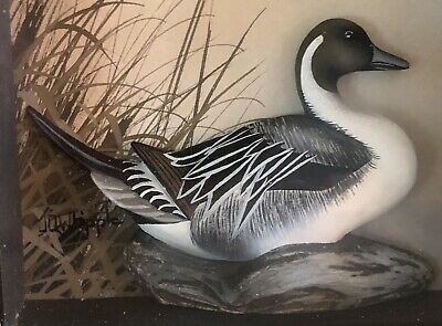 Joseph Q Whipple 3D Painting PINTAIL DUCK Abercrombie Fitch ART Wood Frame