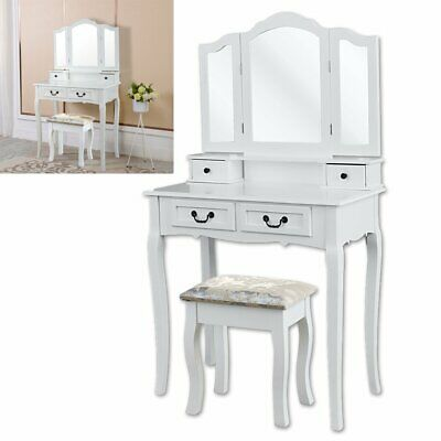 Coiffeuse Table Blanche Table de Maquillage Miroirs Rabattables and 4 Tiroirs