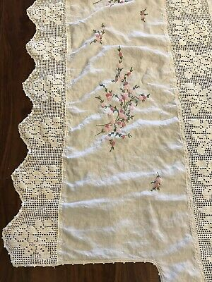 "Vintage Elegant Embroidered Crochet Tablecloth 77"" x 76"" Floral Lace Antique"