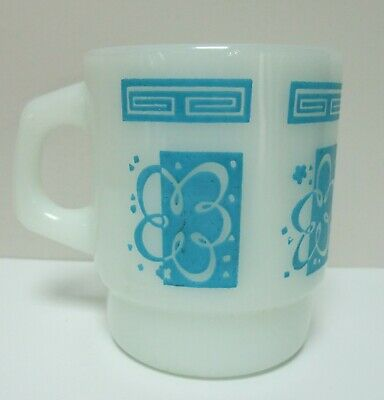 Vintage Anchor Hocking Blue Atomic Abstract Milk Glass Coffee Mug USA Made