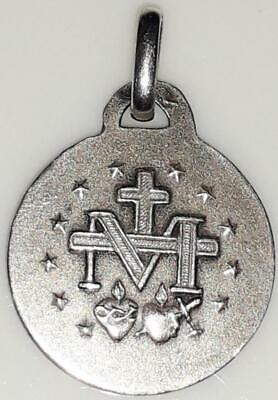 Vintage Sterling Silver Miraculous Holy Medal Mary Immaculate Rosary Prayer BVM