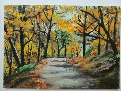 ACEO Original Acrylic Painting Landscape Autumn Fall Road by Artist Joan Hutson