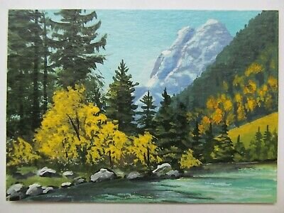 ACEO Original Acrylic Painting Landscape Fall Mountain Autumn by Joan Hutson