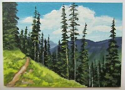 ACEO Original Acrylic Painting Landscape Trees Path The Hillside by Joan Hutson