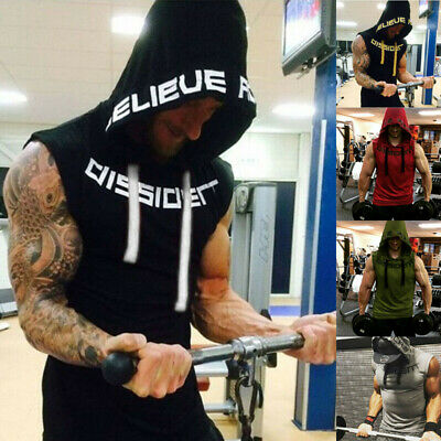UK Mens Hooded Hoodie Vest Tank Tops Sweatshirt Gym Muscle Sleeveless T-shirt