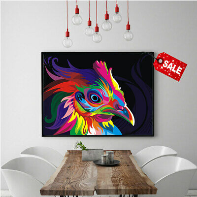 Home Wall Art Picture Painting Colorful Rooster HD Print Canvas Decorative 16x24