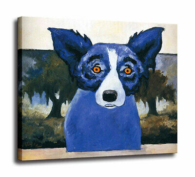 HD Print Cartoon Blue Dog Red and Black Art Painting on Canvas Home Decor 24x26