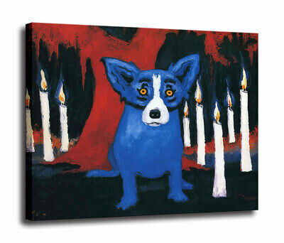 HD Print Home Decor Cartoon Blue Dog on Canvas Wall Art Decor Painting 16x20