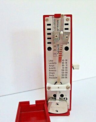 Wittner Super Mini Taktell Metronome Wind Up West Germany Burgundy