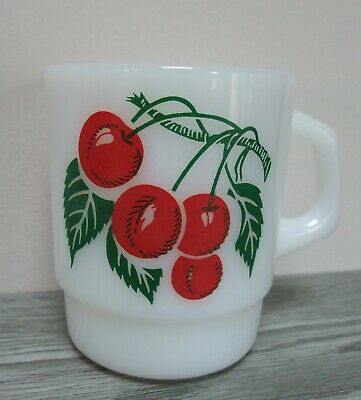 Vintage Milk Glass Mug Termocrisa Red Cherries Cherry Coffee Cup Stackable
